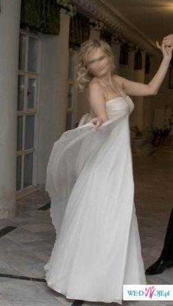 Suknia ecru roz.36 38 jedwabna Juda Pietkiewicz