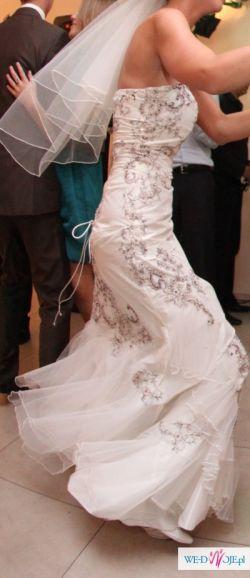 Suknia ecru z koronką / model venika 121