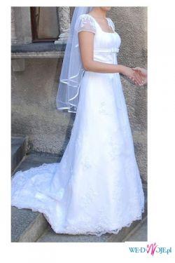 Suknia Kristi firmy AnnaisBridal roz.36/38 biała z trenem