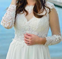 Suknia rustykalna, koronka + muślin, GALA, Piwone