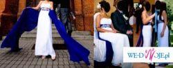 Suknia, ślub, wąska, prosta, biało-niebieska