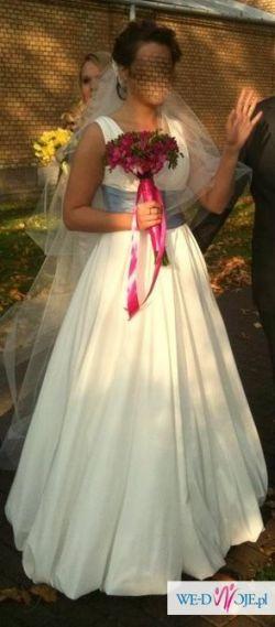 suknia śluba z tafty perłowej roz. 40