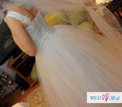 Suknia ślubna 2012! RĘCZNIE zdobiona, koronka, kryształki,Biała,roz.34 36 38