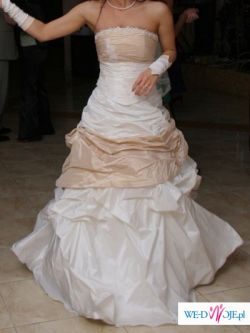 Suknia ŚLUBNA 34-36 ecru+cappucino