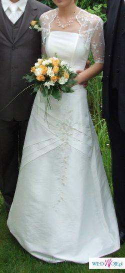Suknia ślubna 34 jasne ecru + koronkowe bolerko