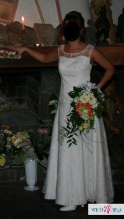 Suknia ślubna 36/38, ercu, koronkowe ramiona