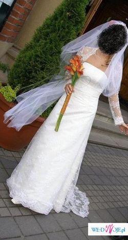 Suknia ślubna 36/38 śmietankowa,koronka