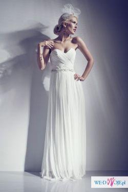 3a5bf657a7 Suknia ślubna 38 40 prosta minimalistyczna prawdziwy zwiewny muślin ...