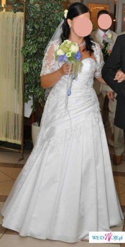 Suknia ślubna 42-44 z aplikacja koronkowa w draperie z bolerkiem koronkowym