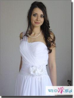 suknia ślubna A biały szyfon, zwiewna i dziewczęca, NOWA, NIEUŻYWANA