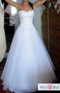 b2fd98bd1c Suknia ślubna Afrodyta + dodatki r.36 38 śnieżnobiała princeska ...