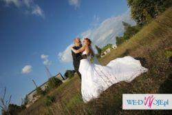 Suknia ślubna Agnes 10303 biała z trenem gratis podwiązka