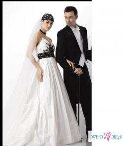 Suknia ślubna Agnes - z czarną koronką