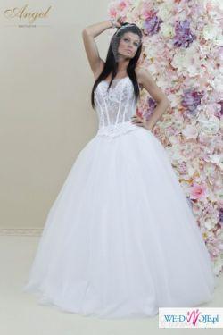 Suknia ślubna Angel Carmell biała PRINCESKA !