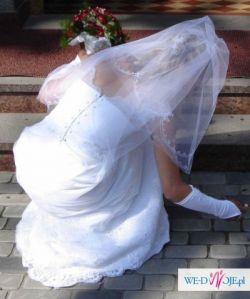 Suknia ślubna BIAŁA 34/36 koronkowa + welon + koło