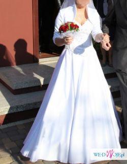 Suknia ślubna biała + bolerko, buty rozmiar 36 gratis