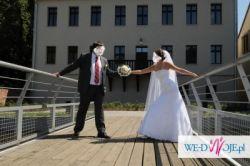 Suknia ślubna biała, koronka