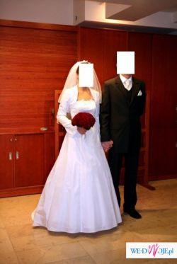 suknia ślubna biała Madame Zaremby z tafty+bolerko+ welon!!!!Okazja!!!
