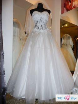 Suknia ślubna biała rozm. 36-39 GRATIS bolerko rękawiczki