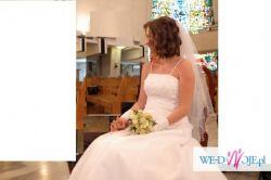 Suknia ślubna, biała, rozmiar 38, wzrost 165-170. Sprzedam.