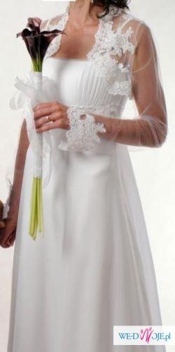 Suknia ślubna biała z bolerkiem i rękawiczkami