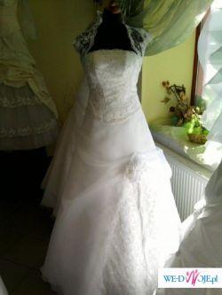 suknia ślubna biała z gorsetem i bolerkiem r 38 cena 600 zł