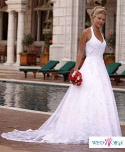 Suknia ślubna biała z trenem