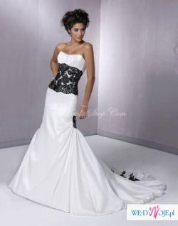 suknia ślubna biało czarna