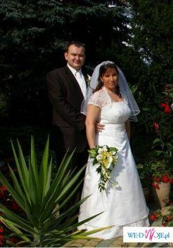 Suknia ślubna, bolerko, welon, ecru, rozmiar 46