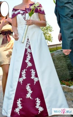 Suknia ślubna bordo ecru 40 / 42 gratisy!! piekna ;) unikat