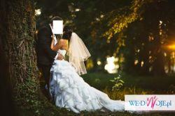 Suknia ślubna CASCADA firmy ANGEL z długim dopinanym trenem + GRATIS