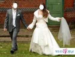 Suknia ślubna + ciepłe bolerko + welon