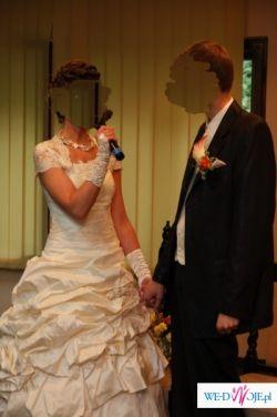 suknia ślubna classa + gratisy (bolerko, halka, rękawiczki)