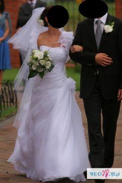 Suknia Ślubna Demetrios  3138. Rozmiar 32/34 Biała, bolerko, welon, buty