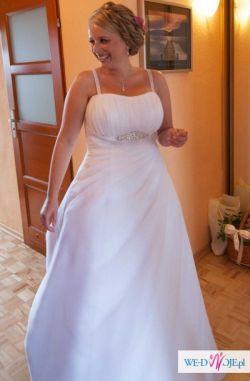 Suknia ślubna dla dziewczyny o kobiecych kształtach (rozm.42/44)