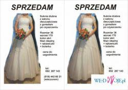 suknia ślubna, dwuczęściowa z bolerkiem i gorsetem rozm. 36, wzrost 170