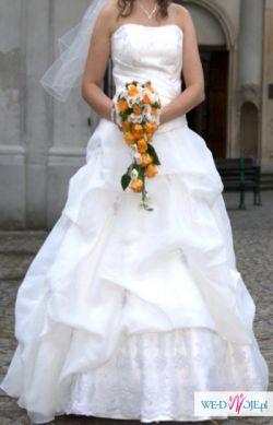 Suknia ślubna ecru 36/38+b.dużo dodatków
