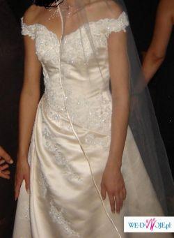 suknia ślubna ecru 36 +  dwa welony, bolerko i rękawiczki