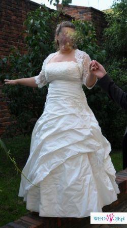 suknia ślubna ecru rozm. 44/46, dla pani z dużym biustem+GRATIS bolerko
