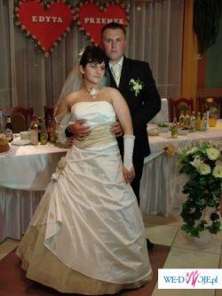 Suknia Ślubna ecru wraz z dodatkami