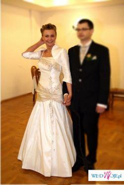 Suknia ślubna - ecru z dodatkami cappuccino
