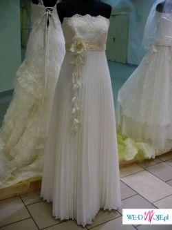 Suknia ślubna ecru z kolekcji 2008, plisowana