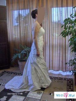 Suknia ślubna ecru z trenem