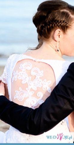 Suknia ślubna folk koronka kryształki