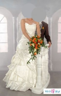 Suknia ślubna (gorset + spódnica ) - ecri skromna, elegancka i subtelna