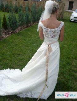 Suknia ślubna:Herm's Delori; rozm.34/36; wzrost 158cm+korek
