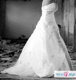 Suknia ślubna Herms 38 40 42 OKAZJA SWAROVSKI tren princessa