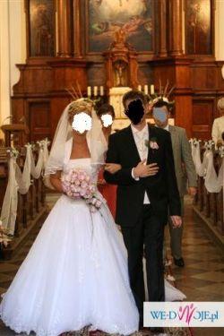 Suknia ślubna HERMS Lirista koronka tiul tren