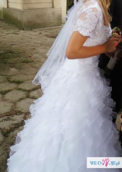 Suknia Ślubna Hiszpanka Falbany + dodatki / CENA do NEGOCJACJI