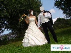 Suknia ślubna jednoczęściowa eecru dla wysokiej